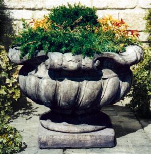 Photo of Large Scrolled Stone Vase