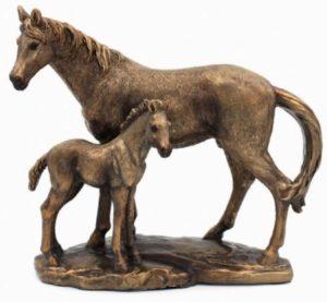 Photo of Mare and Foal Bronze Horse Figurine (Leonardo) 18cm
