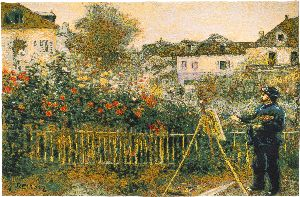 Phot of Monet Painting in his Garden at Argenteuil by Pierre-Auguste Renoir Wall Tapestry
