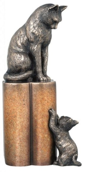 Photo of Mum Cat and Kitten Bronze Figurine 30 cm 2.5kg
