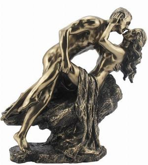 Photo of Nude Lovers on Rock Bronze Figurine