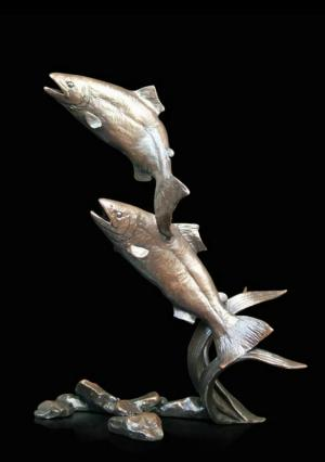 Photo of Salmon Pair Leaping Bronze Figurine (Limited Edition) Michael Simpson