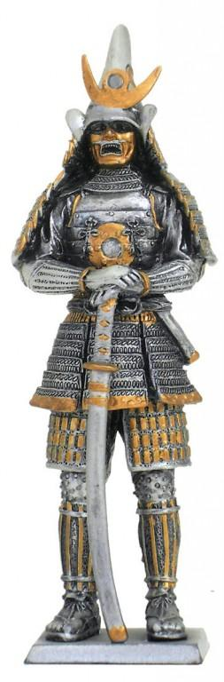Photo of Samurai Warrior Wearing Mask Pewter Figurine