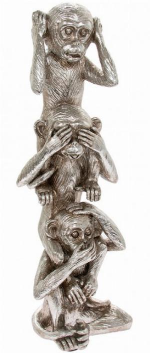 Photo of Three Wise Monkeys Tower Silver Leonardo Collection