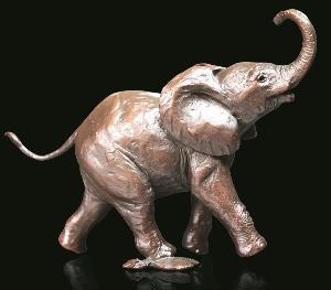 Photo of Baby Elephant Running Figurine (Limited Edition) Michael Simpson