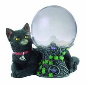 Photo of Black Cat Figurine with Crystal Ball 16cm