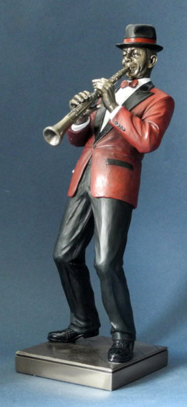 Photo of Clarinet Player Jazz Bronze Figurine
