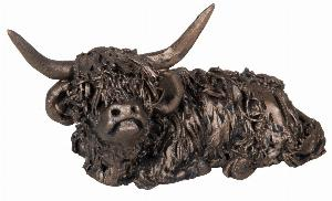 Photo of Dougal Sitting Highland Bull Bronze Figurine Small(Veronica Ballan) Frith Minima