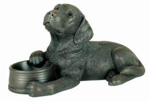 Photo of Labrador with Bowl Bronze Ornament