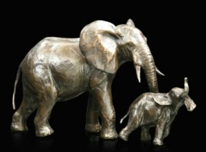 Photo of Medium Elephant Cow and Calf (Limited Edition) Michael Simpson