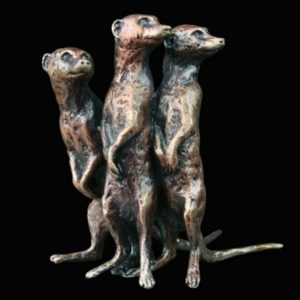 Photo of Meerkat Group Standing Bronze Miniature (Butler and Peach)