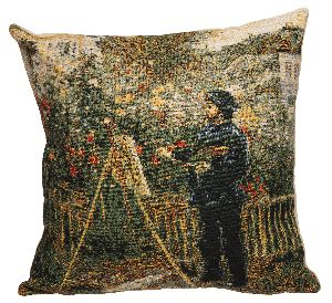 Phot of Monet Painting in his Garden at Argenteuil by Pierre-Auguste Renoir Tapestry Cushion