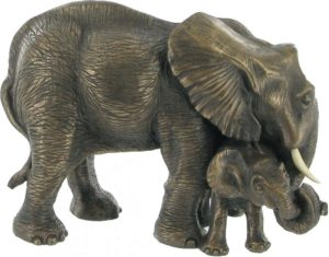 Photo of Mother and Baby Elephant Bronze Sculpture
