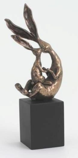 Photo of Rabbit with Baby Sitting on Block Sculpture 19 cm