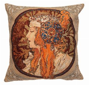 Phot of Rousse Byzantne By Mucha Tapestry Cushion