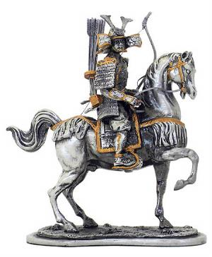 Photo of Samurai Warrior Horseback Archery Pewter Figurine