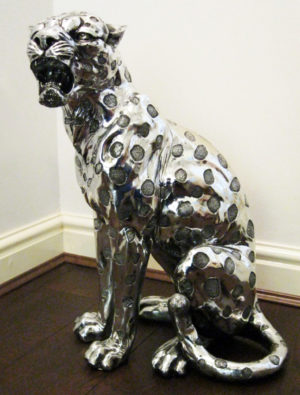 Photo of Silver Art Leopard Statue 52 cm