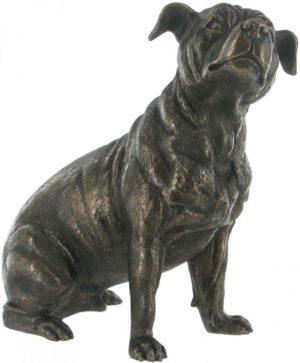 Photo of Staffordshire Bull Terrier Dog Sitting Bronze Sculpture