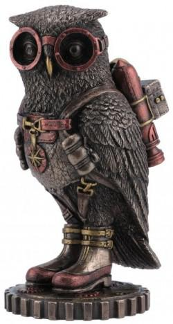 Photo of Steampunk Owl Bronze Figurine Colour 16 cm