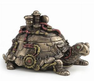 Photo of Steampunk Turtle Figurine Box Bronze