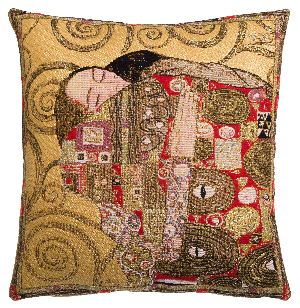 Phot of The Accomplishment By Gustav Klimt Tapestry Cushion Ii