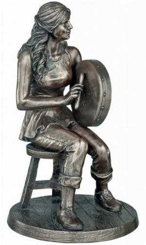 Photo of The Bodhran Player Bronze Figurine