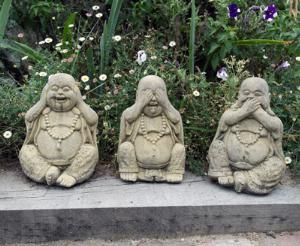 Photo of Three Wise Buddha Stone Statues (Set of 3) 20 cm