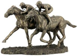 Photo of Two Jockeys Racing Bronze Figurine 32cm
