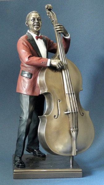 Photo of Bass Player Jazz Bronze Figurine