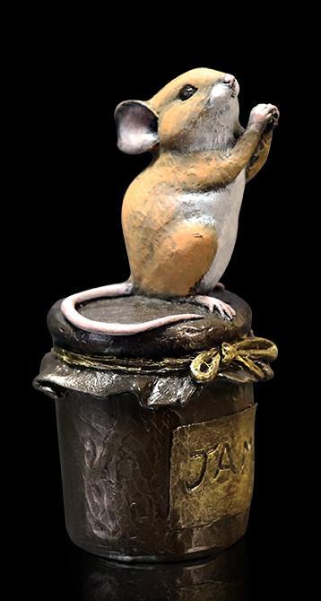 Photo of Mouse on Jam Jar Bronze Figurine Michael Simpson