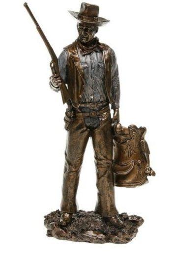 Photo of Cowboy with Rifle Bronze Figurine John Wayne