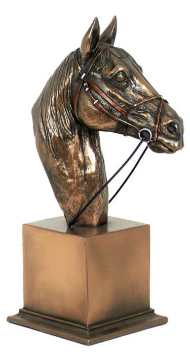 Photo of Horse Head Bronze Sculpture on Plinth (Medium) 21cm