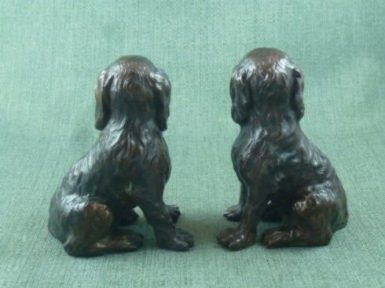 Photo of Pair of King Charles Cavalier Spaniels Bronze Ornaments