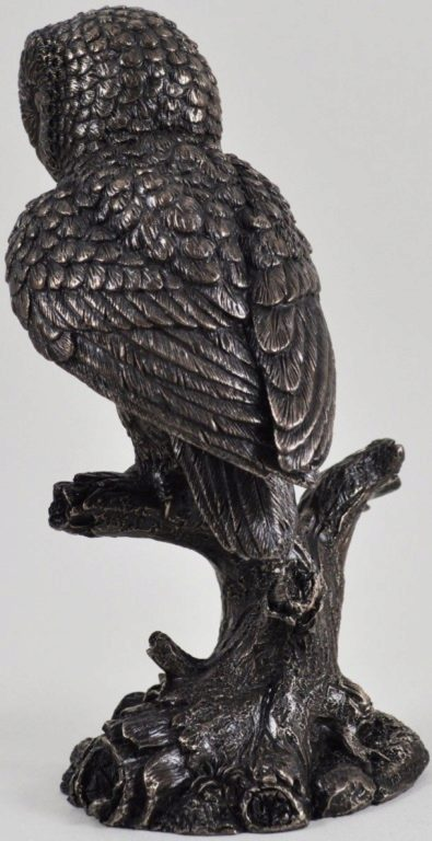 Photo of Barn Owl on Branch Bronze Sculpture 20cm