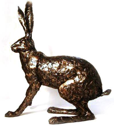 Photo of Startled Hare Bronze Sculpture (Premier Collection) Large 50 cm tall