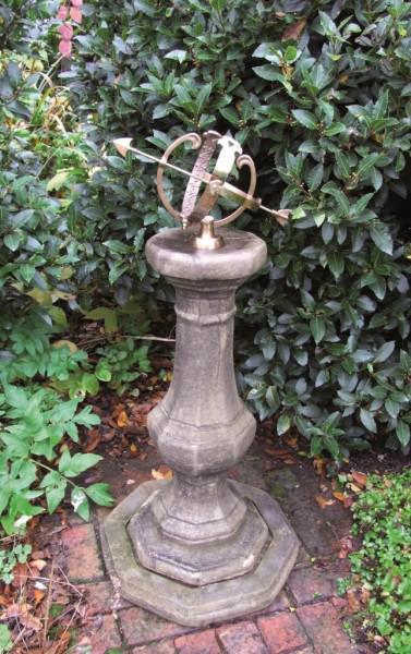 Photo of Stone Pedestal with Brass Armillary