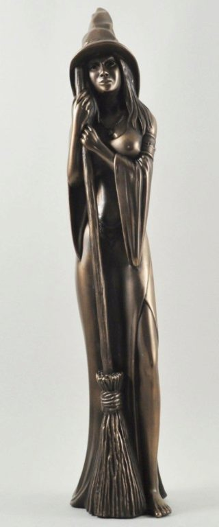 Photo of Tall Bronze Witch Figurine 44 cm