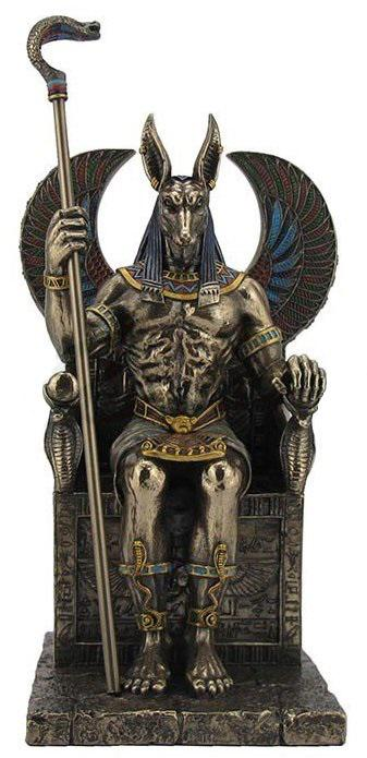 Photo of Anubis Holding Cobra Sceptre Sitting Figurine 27 cm