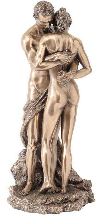 Photo of Bronze Couple Holding Hands Figurine 28cm