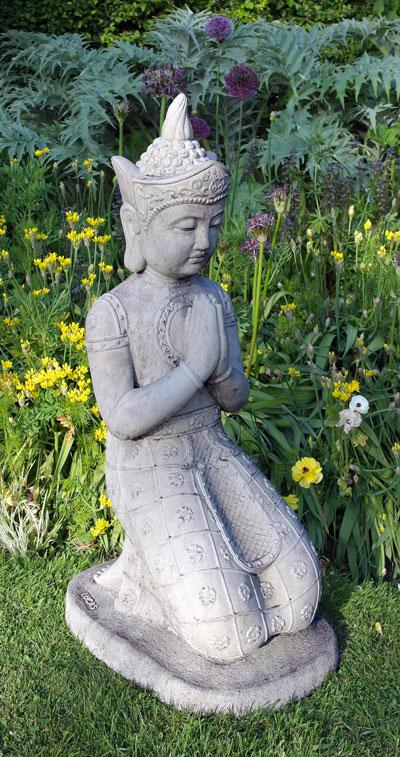 Photo of Kneeling Buddha Stone Statue Large NEW