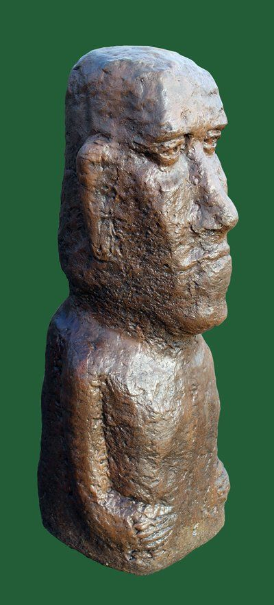 Phot of Large Moai Head Stone Sculpture