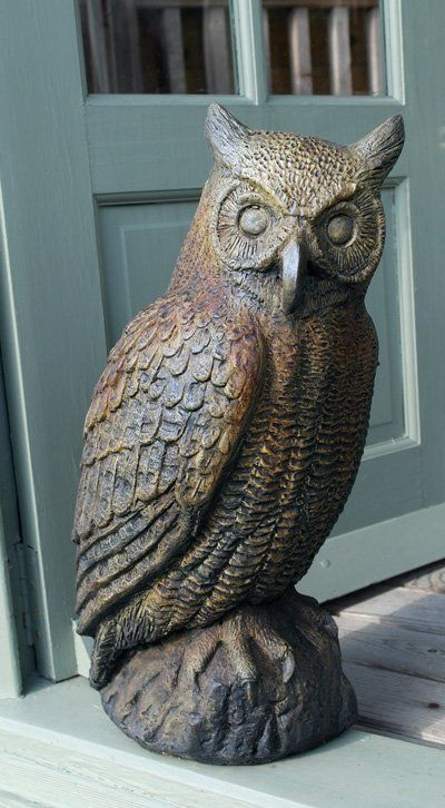 Phot of Great Horned Owl Stone Statue