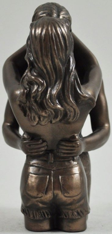 Photo of Love Thoughts Nude Lovers Bronze Small Figurine (Love is Blue) 10cm
