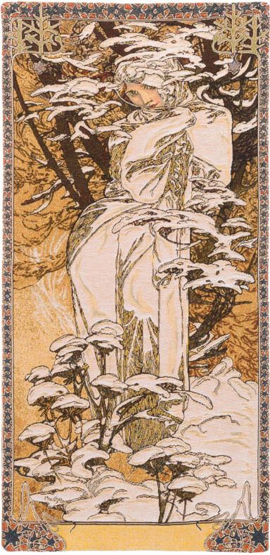 Phot of Winter By Mucha Wall Tapestry