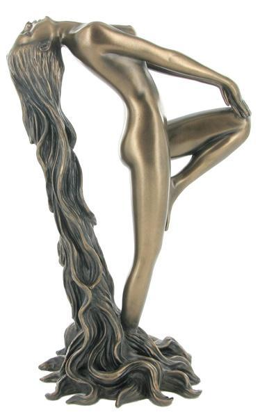Photo of Female Nude with Long Hair Bronze Sculpture