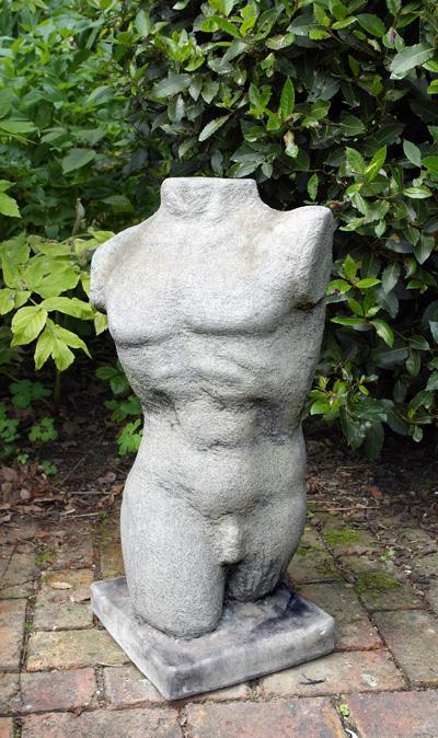 Photo of Male Torso Adam Nude Stone Statue 71 cm