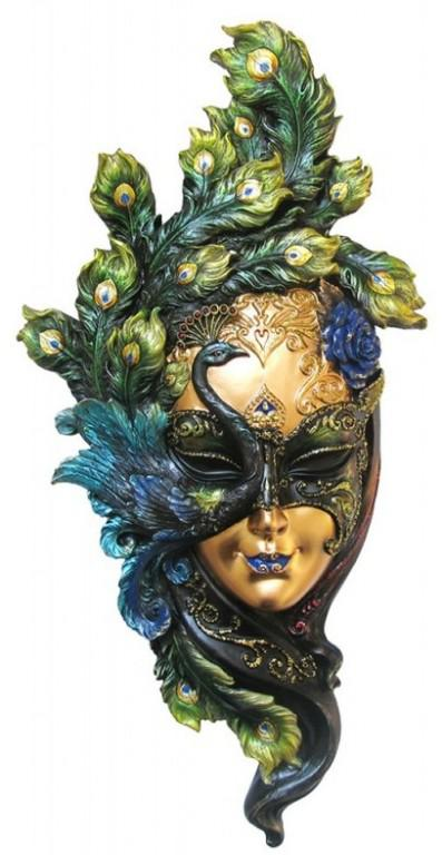 Photo of Venetian Mask Peacock Wall Plaque Colour