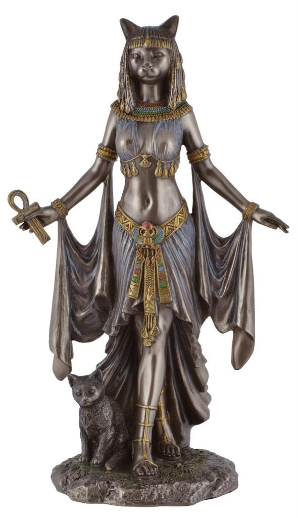 Vosarea Ancient Egypt Kitty Egyptian Bastet Cat Goddess Statue Collectible Bastet Sculpture Tabletop Counter Decoration