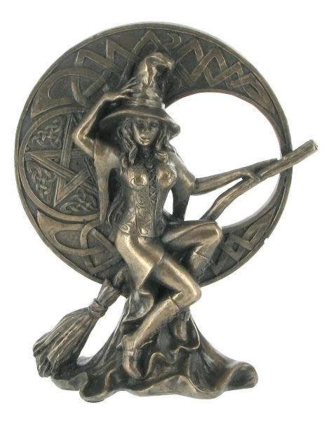 Photo of Bronze Witch with Celtic Moon Figurine