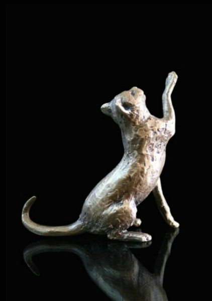 Photo of Cat Sitting Bronze Miniature (Butler and Peach)